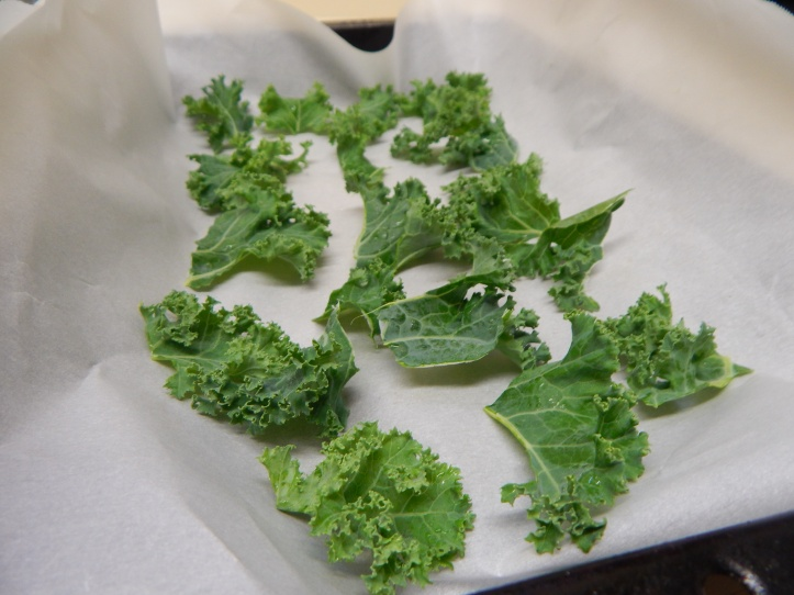 Kale Chips in Tray